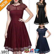 Women's 1950s Vintage Retro Evening Party Swing Classic Lace Skater Dress A022