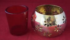 Round Brass and Glass Votive With Open Work