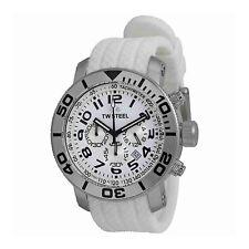 Authentic TW Steel Unisex TW94 Grandeur Diver Chrono Watch Rubber Strap WHITE