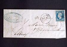 1860 France lettre PC 3942 Nouzon(7) ARDENNES sur timbre n°14 Ind 8 AA7