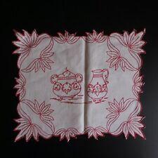 Napperon blanc rouge fait main textile vintage art nouveau déco Italie N5106