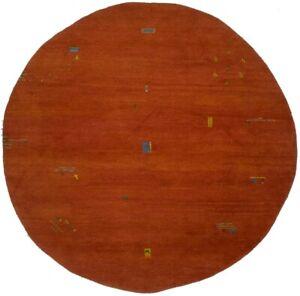 Rust Orange Tribal Design Indo-Gabbeh 8X8 Handmade Modern Oriental Rug Carpet