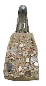 OSCAR DE LA RENTA Designer Beige Canvas Shells Embroidered Bag