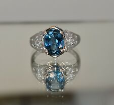 10 K White Gold 3.62 CT Genuine London Blue Topaz Solitaire & Diamond Ring