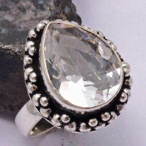 White Topaz Ethnic Handmade Ring Jewelry US Size-6.75 AR 41996