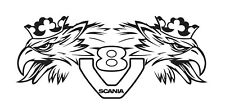SCANIA GRIFFIN V8 LOGO vinyl decals side of cab - Wide 914mm  - Premium Quality