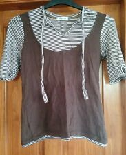 GEORGE size 16 BROWN/WHITE STRIPED SHORT SLEEVE TOP