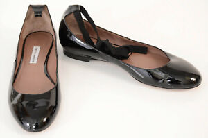 Tabitha Simmons black 10 40 patent leather ankle strap ballet flat shoe $595