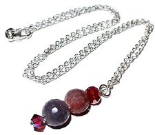 925Sterling Silver Faceted Natural Ruby Made W/Swarovski Crystal Lariat Necklace