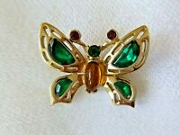 Stunning Vintage HOLLYCRAFT Jeweled Butterfly Brooch-Pin Signed Crystals