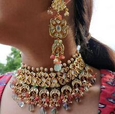 Real Kundan Bollywood Necklace Set Jewelry Ad CZ Polki Handmade Statement Set