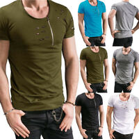 Men's Slim Fit O Neck Short Sleeve Muscle Tee T-shirt Ripped Casual Tops Blouse