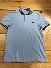 Fred Perry Abstract Collar Pique Sky M6505 - Large