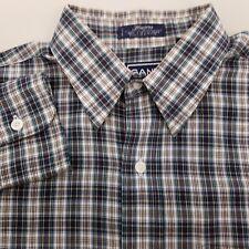GANT Blazers Long Sleeve Dress Shirt Men's Size 15.5 33 Plaid Checks Blue Green