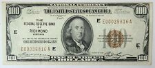 Series Of 1929 Federal Reserve Of Richmond Virginia $100 National Currency