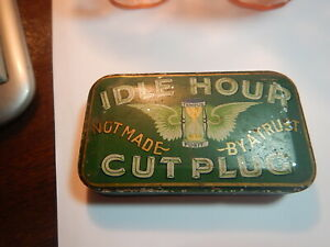 Idle Hour Cut Plug tobacco pocket tin decent condition old estate