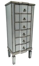 Tall Venetian Mirrored Chest Of 6 Drawers Bedroom Furniture Retro Glass Storage