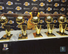 Kobe Bryant - 5-Time World NBA Champion Trophies Los Angeles Lakers 8x10 Photo