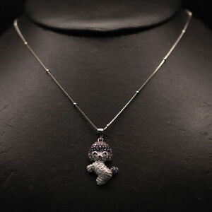"""AAA! FANCY COLOR CUBIC ZIRCONIA NECKLACE 20.0"""" 925 STERLING SILVER"""