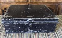 Antique Chubb and Son London Metal Black Distressed Lockbox Cash Box Chubb's