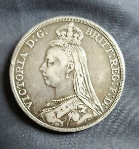 1889 Queen Victoria Jubilee Head Silver Crown Coin