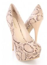 Natural Snake Printed Platform Pump High Heels Womens Shoe Size 7