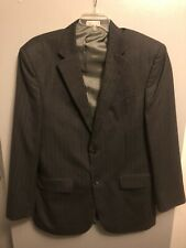Geoffrey Beene Men's Size 44L Blazer Two Button Jacket Charcoal Pinstriped
