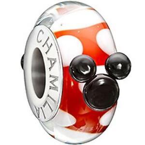Chamilia Disney RED, WHITE & BLACK MINNIE Murano Glass Sterling Bead 2110-1139