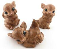 Set of 3 Vintage Brown Bunnies Rabbits Ceramic Hand Painted Playful Figurines
