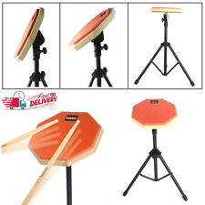 More details for 8 inch drum rubber silencer practice mute pad adjustable drum steel stand orange