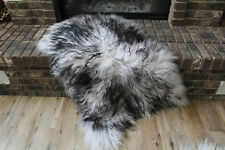 Genuine Icelandic Sheepskin Rug Throw – shade of black - curly pile