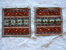 """Set of 2 Embroidered Pillow Shams Rust Tan Blue Multicolor 17.5"""" x 17.5"""""""