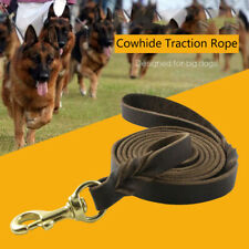 Durable Genuine Cowhide Dog Training Leash Braided Leather Walking Lead^,