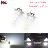1/2x H7 499 6000K 80W White CANBUS CREE LED Fog Light Bulbs DRL Car Driving Lamp