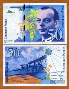 France, 50 francs, 1997, P-157Ad pre-Euro, UNC > Exupery, Airplane