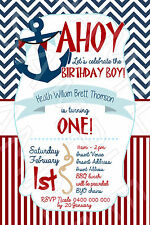 Personalised Sailing Boat Nautical Sailor Birthday Party Invite Invitation