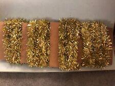 "Vtg 4 Strands Christmas Tree Garland Shiny Gold Tinsel 3"" Wide 61' Total"