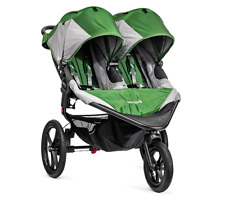 Baby Jogger Summit X3 Double Child Jogging Stroller Travel System in Green/Grey