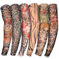 6tlg Tattoo Ärmel Skin Arm Sleeve Strümpfe Stulpe Karneval Fasching NEU