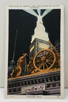 Night Scene of Terminal Tower and Soldiers & Sailors Monument Ohio Postcard C17