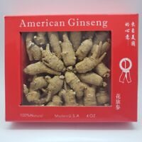 4oz Top Grade Hand Selected American Ginseng Round Root w/Gift Box 美國花旗参/泡参