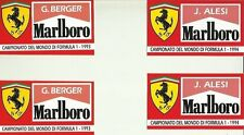 Ferrari F1 Alesi Berger Vintage Sticker Decal x 2 Self Adhesive 11.5 x 6.8cm