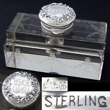 "Elegant Antique Gorham Sterling Silver & Cut Crystal 5"" Inkwell, Etched Garland"