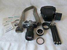 Vintage Pentax ME Super 35mm SLR Camera w/35-105mm RMC Tokina Lens & Accessories