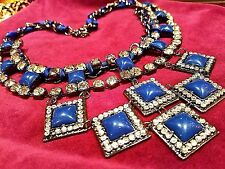 ~WOW! New MASSIVE Runway Designer Cabochon Crystal Resin Bib Pendant NECKLACE