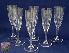 SAINT-LOUIS  Modèle Bristol  6 Flûtes à Champagne Cristal Taillé Côtes Plates