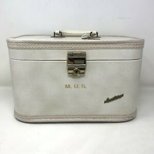 Vintage Carilite Train Makeup Case Vanity Travel Retro Luggage Cosmetic w/ Key