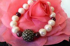 HIGH GRADE 10mm PEARLS, RUBIES & BLACK DIAMONDS Bracelet