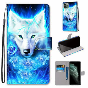Cool Wolf Animal 3D Painted Hot Flip Wallet Bracket Case Cover For Various Phone
