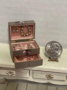 Vintage Artisan PAM MERCER Gorgeous Filled Jewelry Box Dollhouse Miniature 1:12